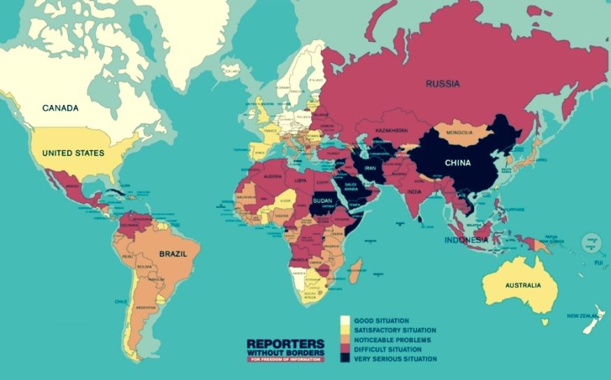Map of the 2015 World Press Freedom Index by Reporters Without Borders