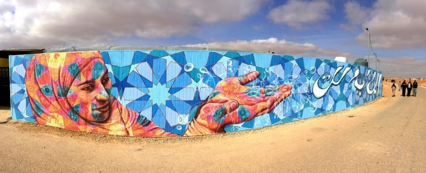 Mural zaatari refugee camp jordan